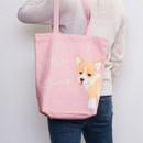 Welsh corgi pink - Pattern canvas shoulder bag
