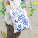 Blue willow - Colorful cotton canvas tote bag