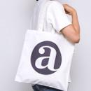 Alphabet letter A cotton canvas tote bag