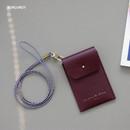 Burgundy - Un jour de chance slim pocket card case with neck strap
