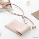 Indi pink - Un jour de chance slim pocket card case with neck strap