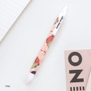 Pink - Classic pattern knock retractable black ballpoint pen