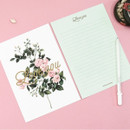 Blossom illustration letter paper and envelope set