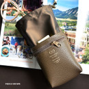 French brown - Sunny twin glasses pocket drawstring pouch