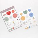 Bonjour hello illustration paper sticker set