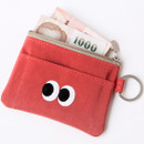 Red orange - Livework Som Som stitching card case with key ring ver2