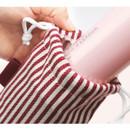 Red - Bookfriends Stripe small drawstring pouch