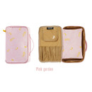 Pink - Weekade botanical cosmetic zipper pouch with handle