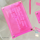 04 Neon pink - Square clear pocket folding pouch bag