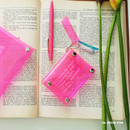 04 Neon pink - Clear pocket folding card case pouch