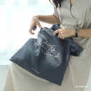 Charcoal - Mind linen fabric daily shoulder bag