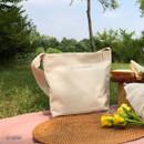 01 Ivory - La vie est belle canvas fabric shoulder bag