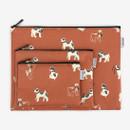 Dailylike Laminated cotton fabric zipper pouch - Fox terrier