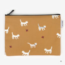 Medium - Laminated cotton fabric zipper pouch - Alley cat