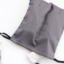 Charcoal - Split travel divided cotton drawstring pouch