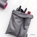 Charcoal - Split hair straightener flat iron drawstring pouch