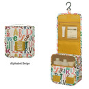 Alphabet beige - Monopoly Enjoy journey small travel hanging toiletry pouch bag