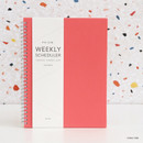 Coral pink - Indigo Prism spiral bound undated weekly diary planner