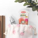Peach - Pattern medium cotton drawstring pouch