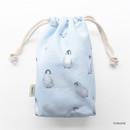 Penguin - Pattern medium cotton drawstring pouch