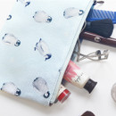 Penguin - Pattern medium cotton flat zipper pouch
