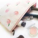 Peach - Pattern medium cotton flat zipper pouch