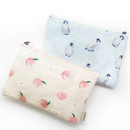 O-check Pattern medium cotton flat zipper pouch