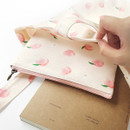 Peach - Pattern medium cotton flat zipper pouch
