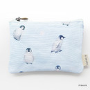 Penguin - O-check Pattern small cotton flat zipper pouch