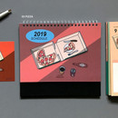 03 Pizza - 2019 Colorful illustration dated monthly desk scheduler