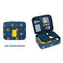 Brown - Line friends travel large multi pouch bag organizer