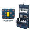 Brown - Line friends pattern travel hanging toiletry bag