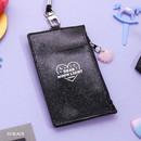 Black - Dear moonlight twinkle zipper card case with neck strap