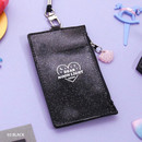 Black - Dear moonlight twinkle zipper card case with neck strap