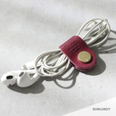 Burgundy - Classic cowhide leather earphones cable winder organizer