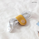 Mustard - Classic cowhide leather earphones cable winder organizer