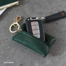 Deep green - Classic cowhide leather small zipper pocket with key ring