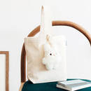 Ivory - Piyo popuree cotton tote bag with cute doll charm