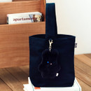 Navy - Piyo popuree cotton tote bag with cute doll charm