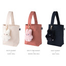 Color - Piyo popuree cotton tote bag with cute doll charm