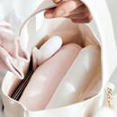 Roomy interior - Piyo popuree cotton tote bag with cute doll charm