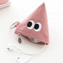Pink - Som Som stitch earphone small zipper pouch