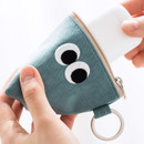 Sky blue - Som Som stitch earphone small zipper pouch