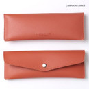 Cinnamon orange - Merci PU stitched slim pencil case pouch