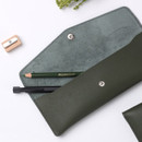 Tree green - Merci PU stitched slim pencil case pouch