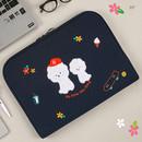 15 inches - Bichon Frise boucle canvas iPad laptop pouch case