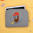 iPad - Beard man boucle canvas iPad laptop pouch case