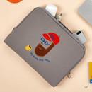 13 inch - Beard man boucle canvas iPad laptop pouch case