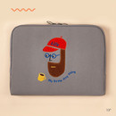 13 inch - Beard man boucle canvas iPad laptop pouch case