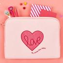 Pink heart boucle canvas iPad laptop pouch case